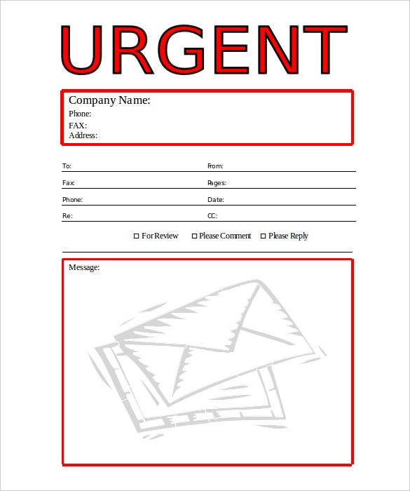 urgent business fax cover sheet template word format download