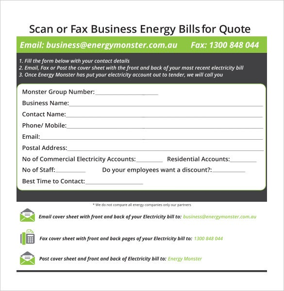 energy monster business fax cover sheet template download