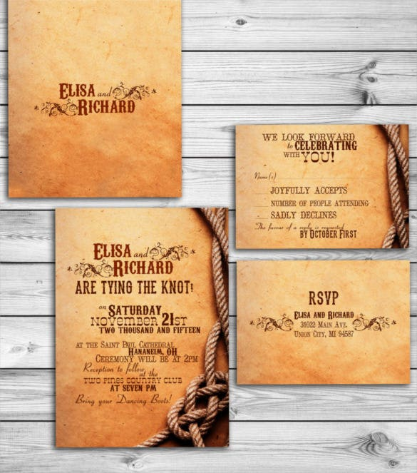 barn western country reception wedding invitation psd format0a