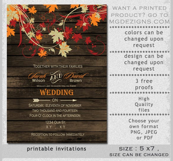 Barnwood Fall Leaves Wedding Reception Invitation