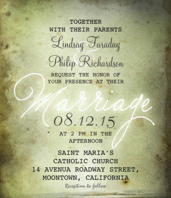 Beach Vintage Wedding Reception Invitation PSD Format