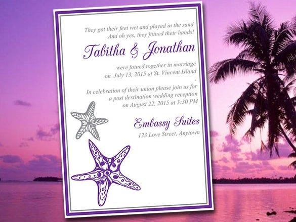 Beach Wedding Reception Invitation