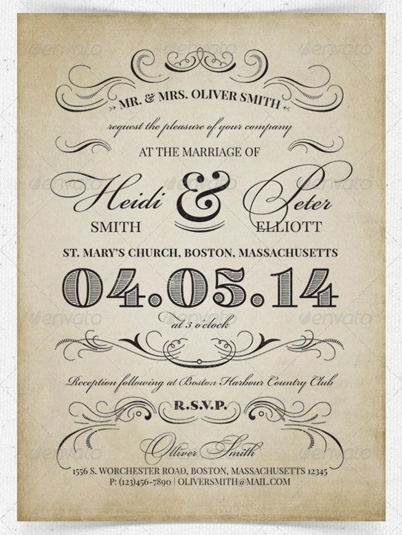 Bridal Vintage Wedding Reception Invitation PSD Format Template