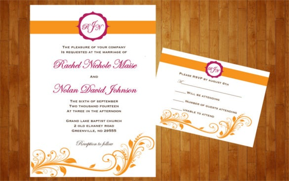 Wonderful Colors Customized For Wedding Reception Invitation Template