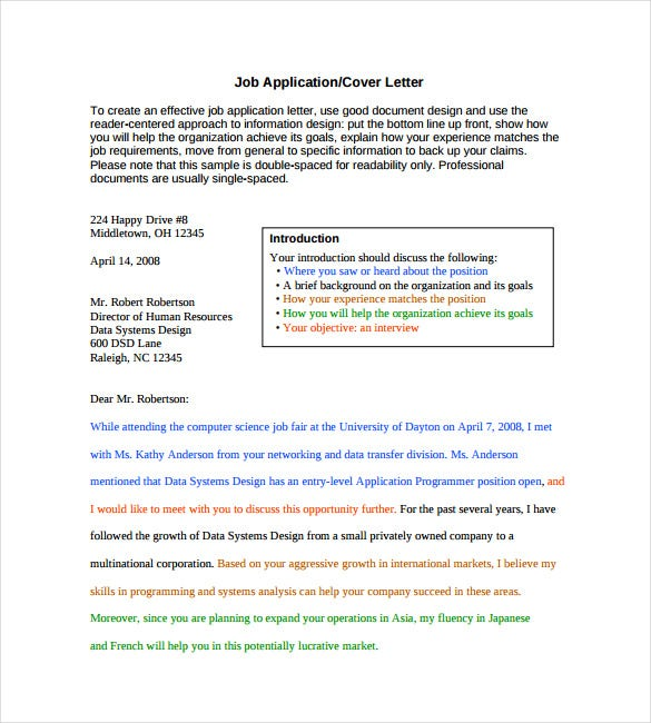Cover Letter Template - Standard Business Letter Format