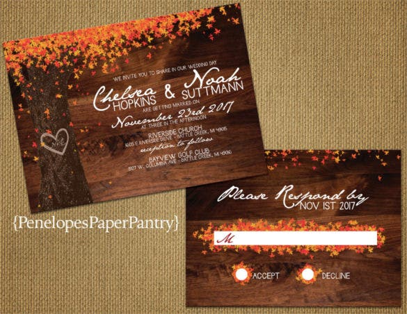 oak tree with colorful fall leaves fall wedding reception invitation 0a