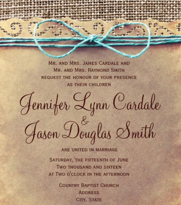 rustic country vintage wedding reception invitations psd format0a