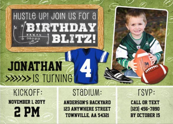 football blitz kids birthday party invitation