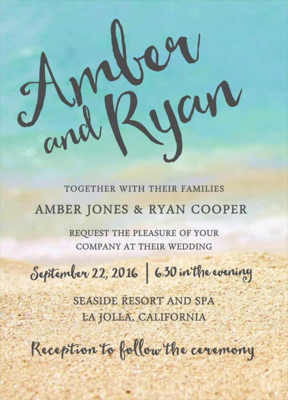 Tropical Beach Wedding Reception Invitation Template