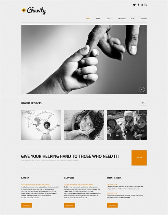 responsive child charity wordpress theme