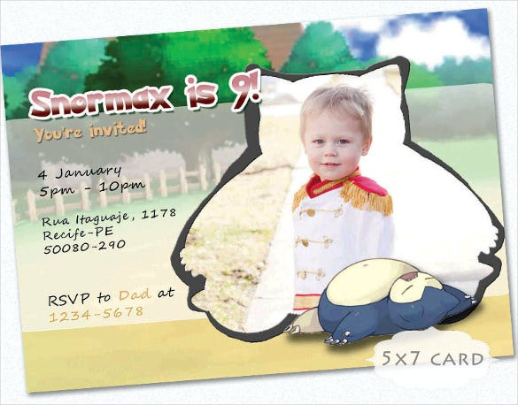 pokemon snorlax invitation card kids birthday cute horizontal postcard
