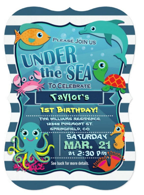 colorful kids sea life birthday party invitation