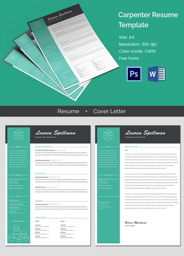 Creative resume template 81 free samples examples format modern carpenter resume template yelopaper Images