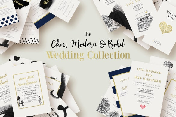 bold chic modern wedding invitation