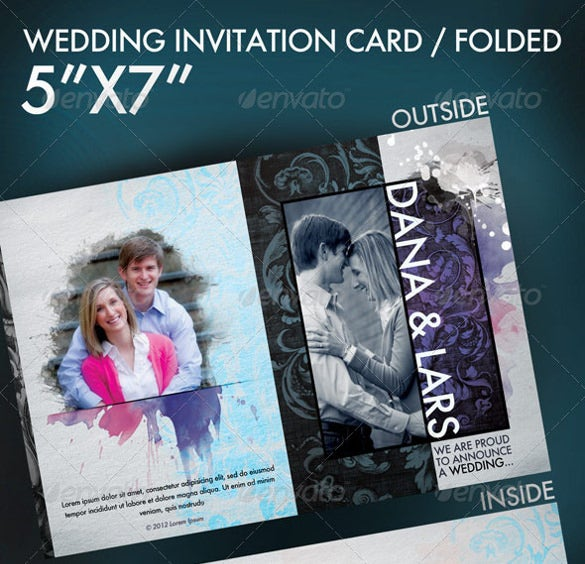 modern folded wedding invitation