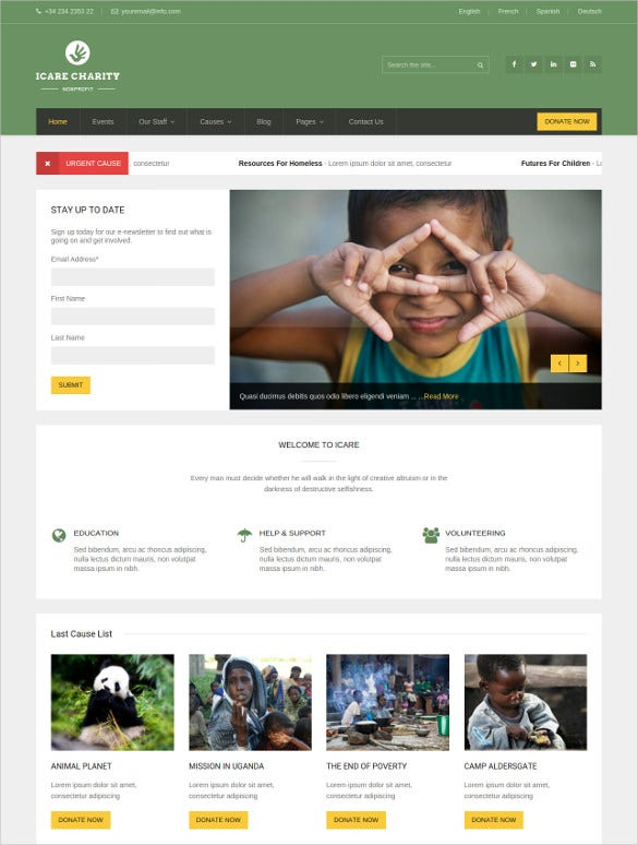 non profit fundrising charity wordpress theme