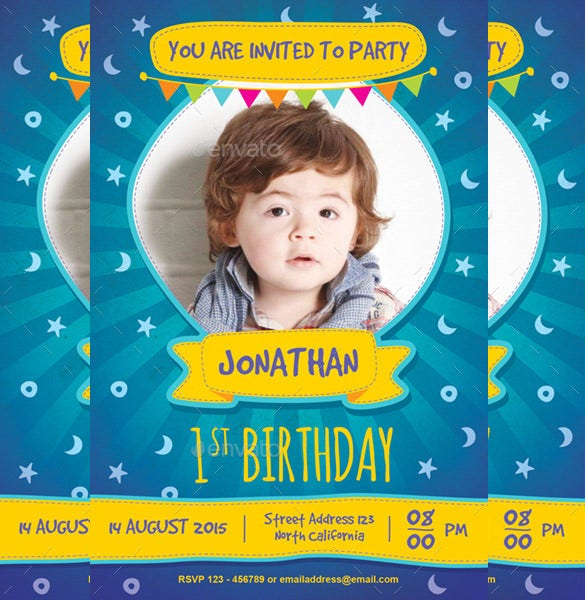 brown kids birthday invitation