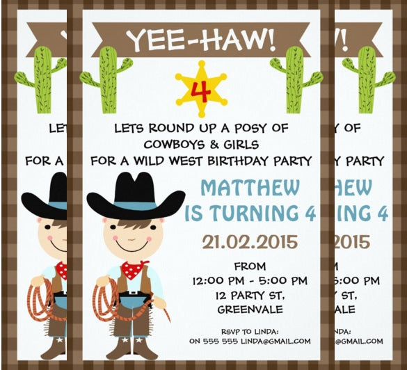 kids cowboy birthday party invitation