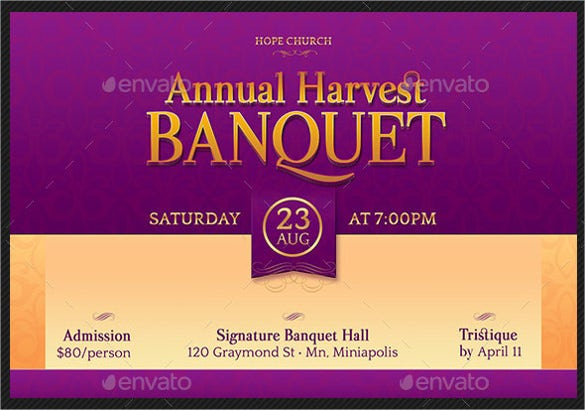 harvest banquet invitation photoshop postcard template