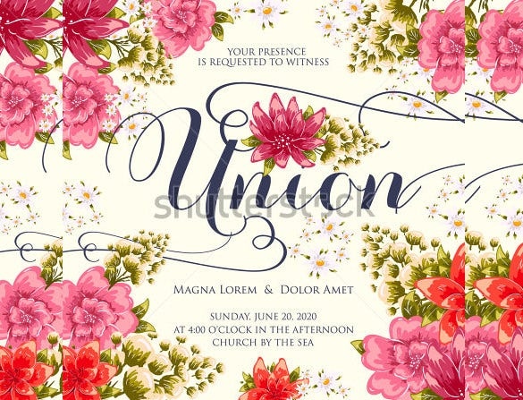 invitation wedding card with abstract floral