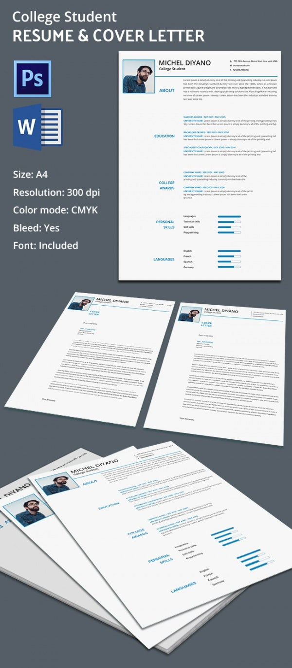 Creative College Resume  Cover Letter Template  Free  Premium