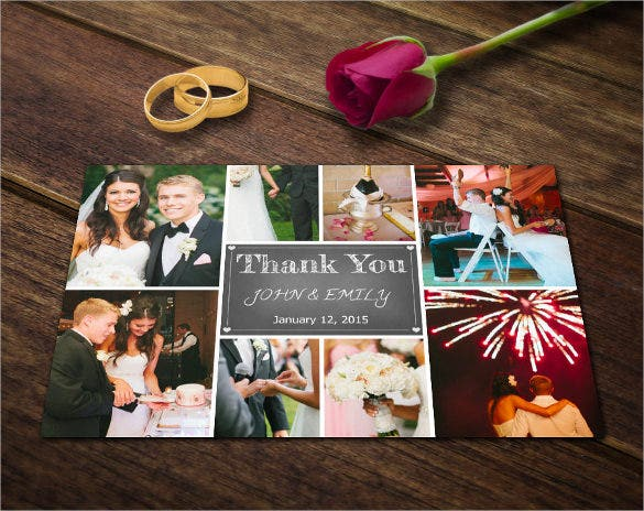 photography postcard photoshop template wedding thank you card