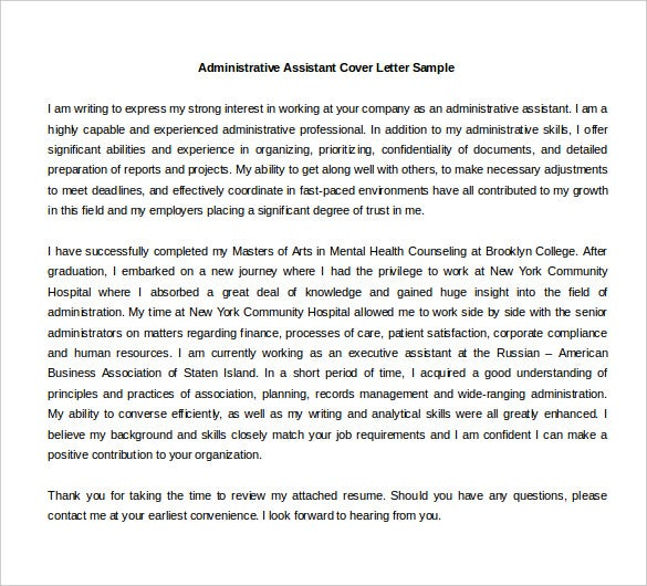Financial Administrative Assistant Cover Letter Sample Cover