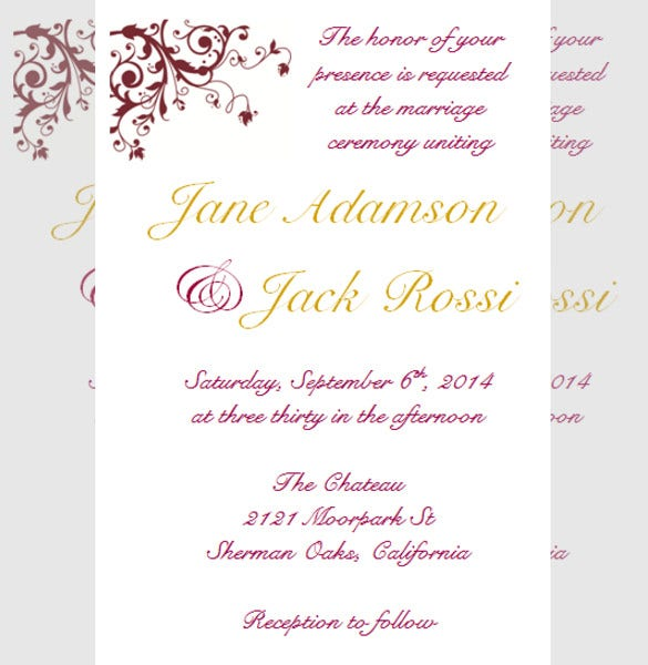 beautiful wedding reception invitation for free