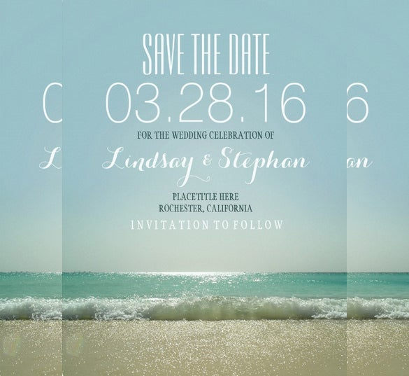 modern beach wedding invitation