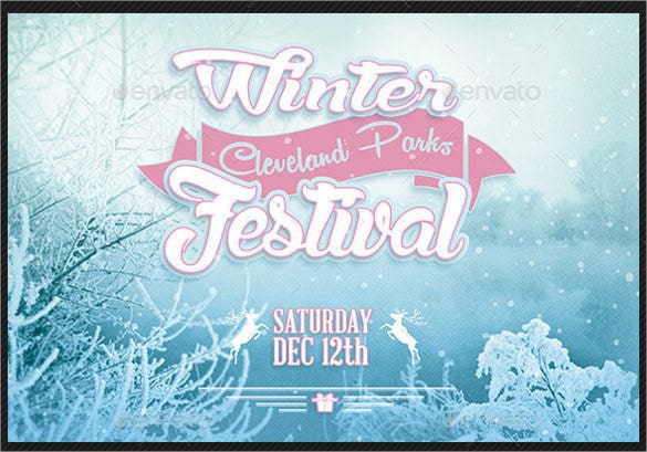 winter festival postcard photoshop template