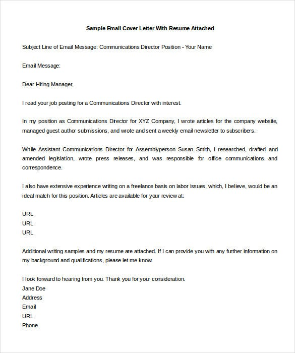 Sample Email With Cover Letter And Resume Attached. How To Email