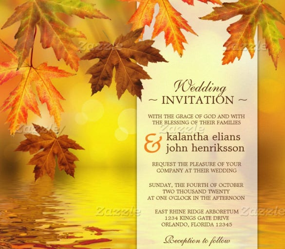 fall wedding invitation with falling leaves