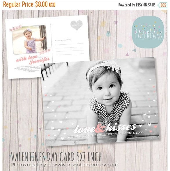 valentines day postcard hotoshop template instant download