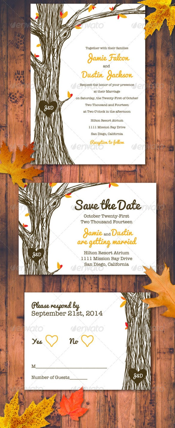 fall autumn wedding invitation set 1