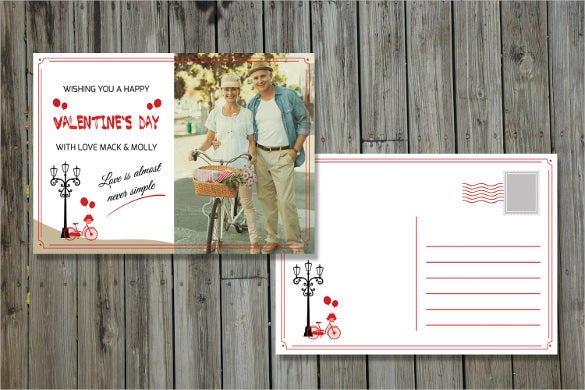 valentins day postcard template photoshop