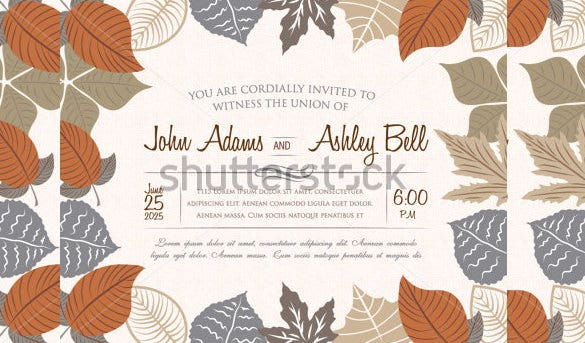 fall wedding invitation card design with leaves 2