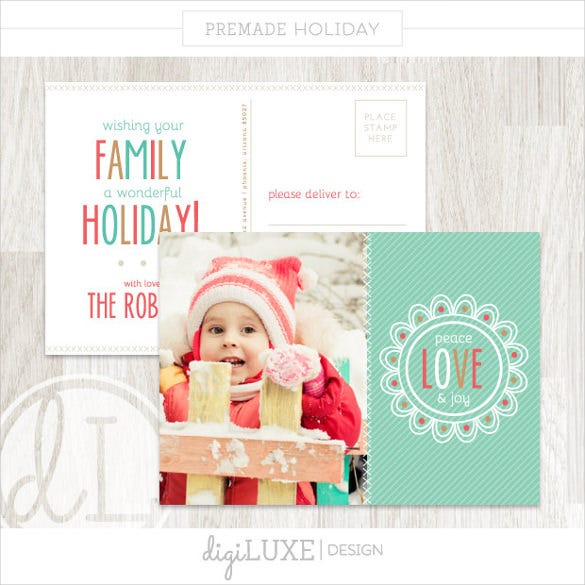 christmas holiday postcard template