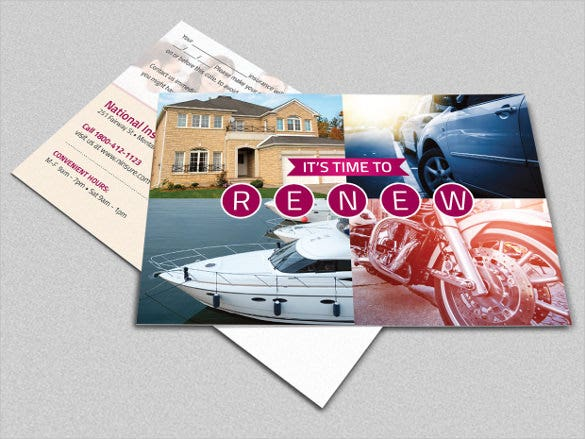 insurance renewal postcard photoshop template