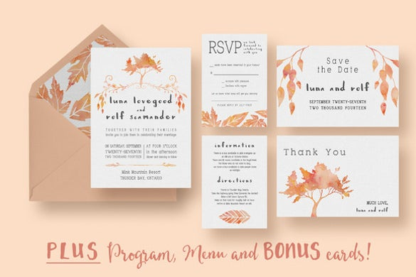 fall wedding invitation card 7