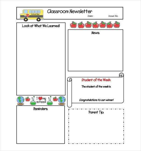 Free-Clroom-Newsletter-Template Teacher Newsletter Templates Free on