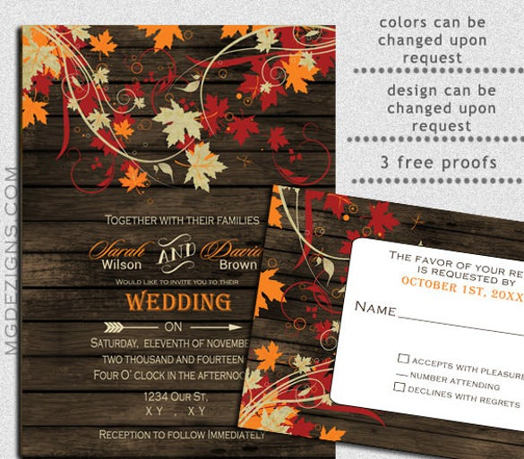 printable letterts fall wedding invitation - Fall Themed Wedding Invitations