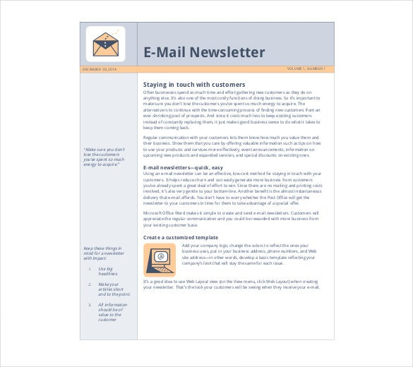 Free newsletter template 9 free word pdf documents for Free online newsletter templates for email