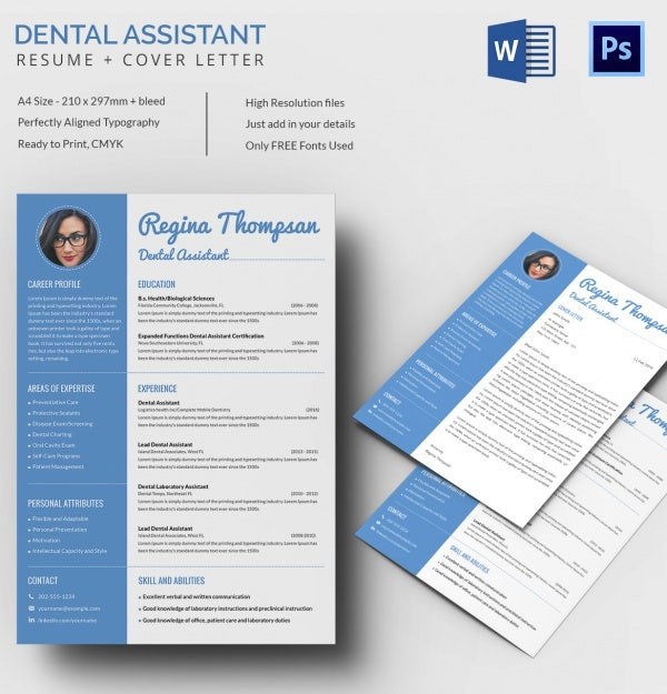 Dental Assistant Resume  Cover Letter Template  Free  Premium