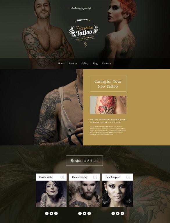 creative tattoo wordpress html5 theme