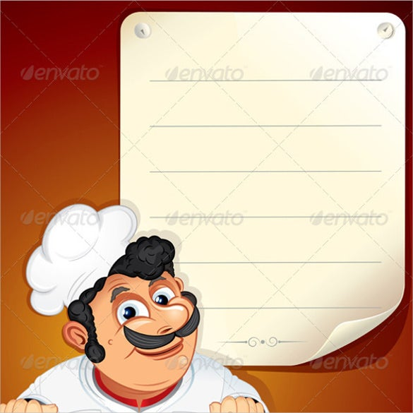 chef with blank menu template