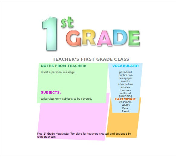 first grade newsletter template