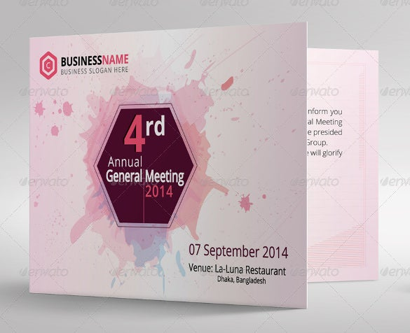17 meeting invitation templates free sample example format pink corporate annual meeting invitation card stopboris Image collections