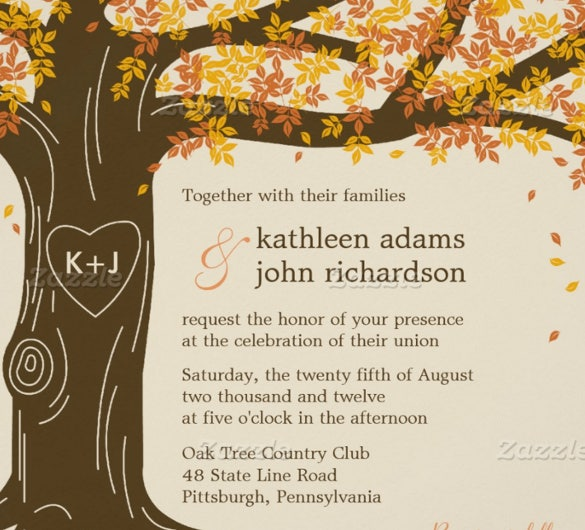 tree fall wedding invitation