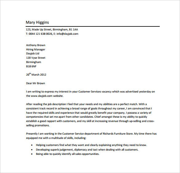 18 Professional Cover Letter Templates Free Sample Example