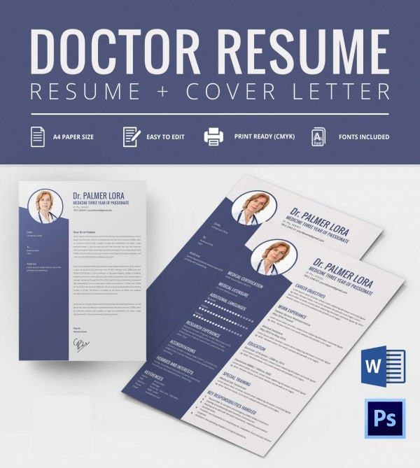 flexible a4 doctor resume cover letter template free premium